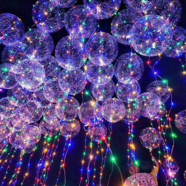 18 Inch Lichtgevende Led Ballon 3 M Led Air Ballon Lichtslingers Ronde Bubble Helium Ballonnen Kids Speelgoed Bruiloft Decoratie