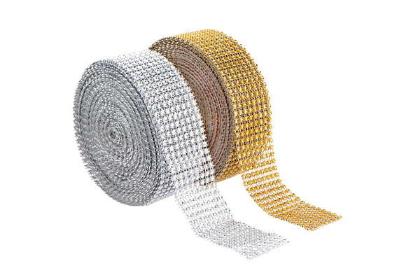 2 Yards / Roll 8 Rows Gold Silver Fashion Mesh Wrap Roll Sparkle Rhinestone Crystal Ribbon Wedding Decoration