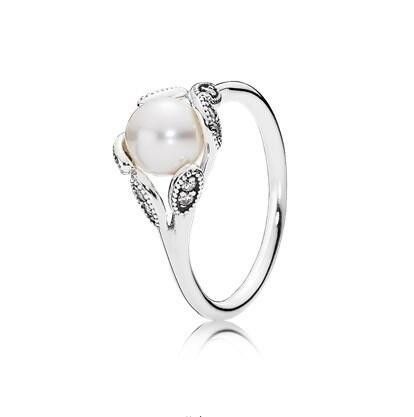 Charming Women S Fashion Plated Silver White Pearl Ring Diamond