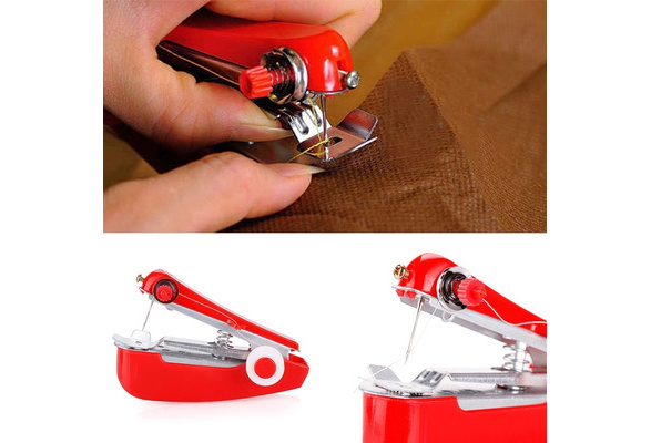 Mini Fabrics Cordless Hand-Held Portable Needlework Sewing Machine Clothes Home and Living Ornament (Size: Random Colors)