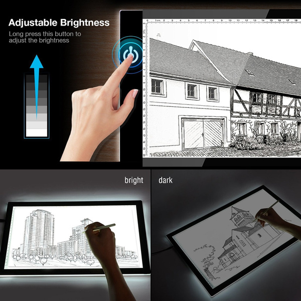 New A4 Ultra-thin LED Light Box Tracer USB Cable Dimmable Brightness Light  Box