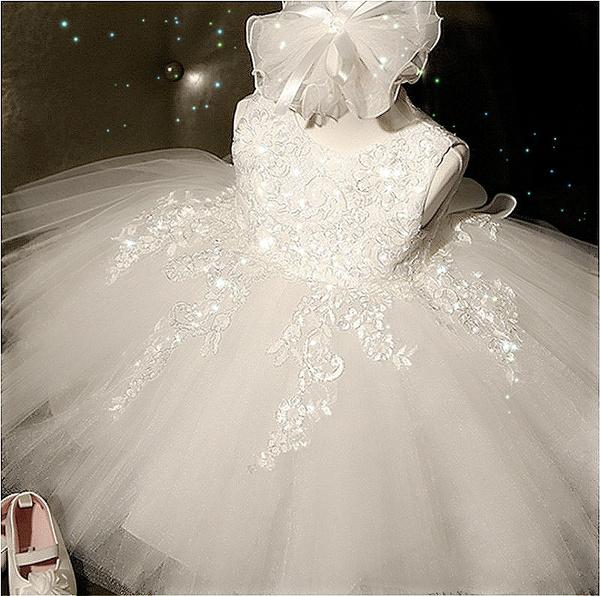 Toddler Baby Kids Girl Summer Lace Christening Wedding Party Princess Tutu Dress