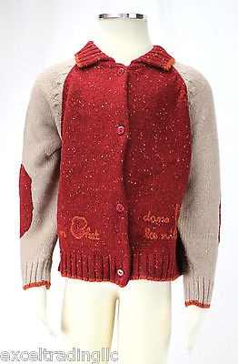 JACADI Boy/'s Aphille Burgundy Collard Think Knit Cardigan Size 4 Years NWT $88