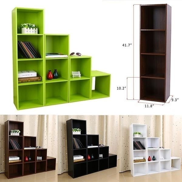 3 4 Tier Diy Wooden Shelf Bookcase Storage Furniture Bookshelf Geek