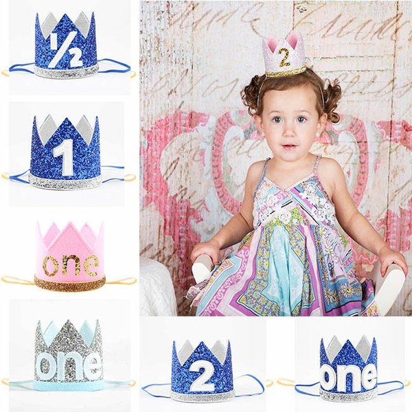 Boy Blue Silver First Birthday Hat Girl Gold Pink Priness Crown Number 1st 2 Year Old Party Glitter Headband Kids Children