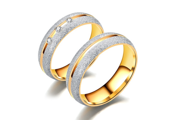 Fashion Frosted Rhinestone Couple Rings Unique Design Stainless Gold Ring Luxury Inlaid Diamond Ring Wedding Jewelry Accessories