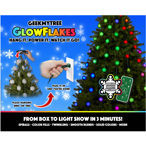 Shark Tank Christmas Tree Lights.Geek My Tree Glowflakes Animated Christmas Tree Lights Shark Tank