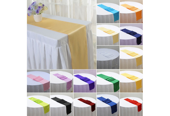 1pcs 28*275cm Satin Table Runner Table Cover Tablecloth For Wedding Party Event Banquet Decoration