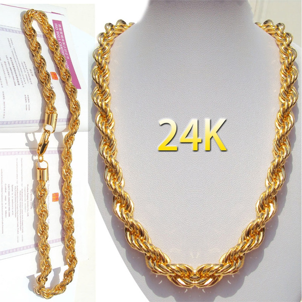 24k Gold Plating Long Chain Necklace Men Jewelry Brand Gothic Gold Color Male Necklace Gifts Size 18 30inch 5mm Wish