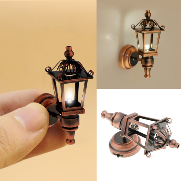 Antique Brass oil lamp light battery operated on-off switch for 1:12 dollhouse