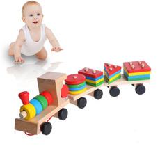 woodentrain, geometricblock, Wooden, developmentalbabytoy