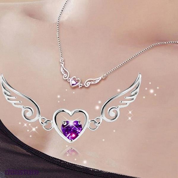 1PC New Women/'s Charm Exquisite Purple Heart Love Pendant Necklace Chain Gift