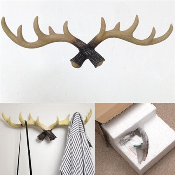 Wish | Vintage Deer Antlers Rack Decorative Wall Hook Antler Coat ...