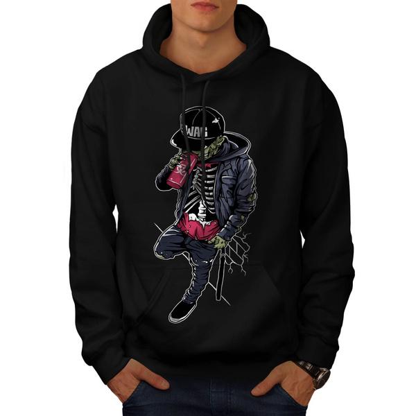Mens Fashion Skeleton Swag Mens Hooded Sweatshirt