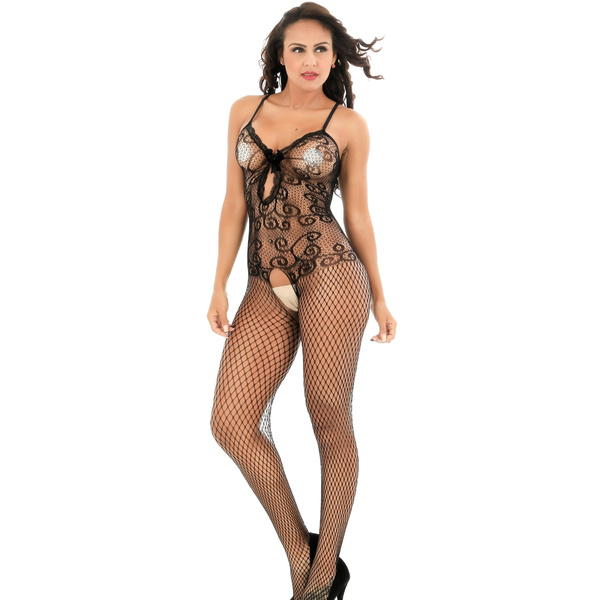 dd8366b069 Womens Sexy Lingerie Strap Bodysuits Teddy Fishnet Crotchless Plus Size  Bodystocking
