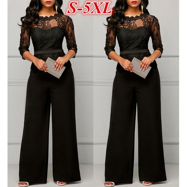 Plus Size, high waist, lacejumpsuit, halfsleeve
