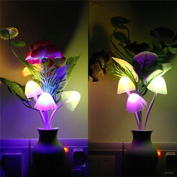 Romantic Flower Mushroom LED Night Light Sensor Plug-in Wall Lamp Home Decor New