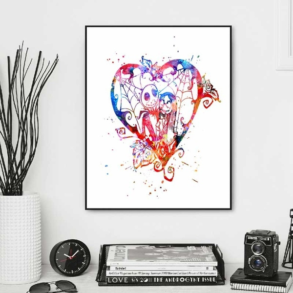wish jack and sally watercolor art print the nightmare before christmas poster nursery painting girl wall hanging kids bedroom decor