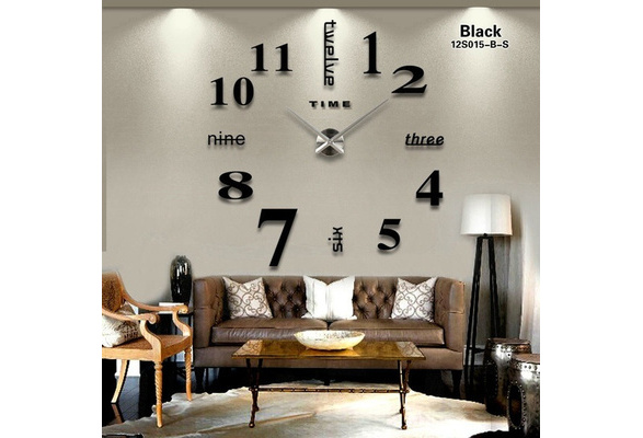 Creative 3D Vintage Mirror Acrylic Wall Clock Home Living Room Clock