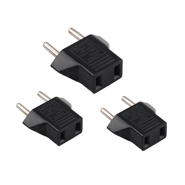 3PCS Mini Universal European US to EU AC Travel Outlet Plug Adapter Converter US
