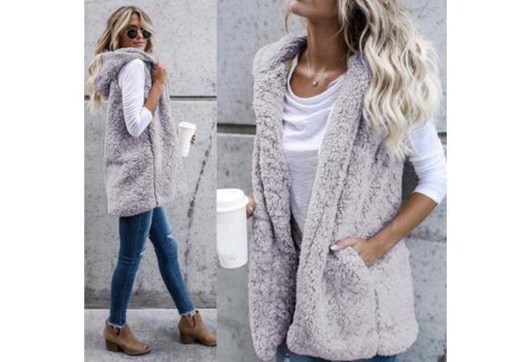 Winter Fashion High quality Faux Fur Vest coat Luxury Warm Women Vests Jackets Women's Coats Jacket