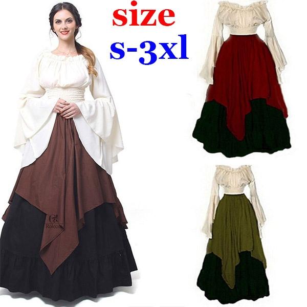 Plus Size XS-3XL, Womens Renaissance Medieval Costume Dress Gothic  Victorian Fancy Dresses