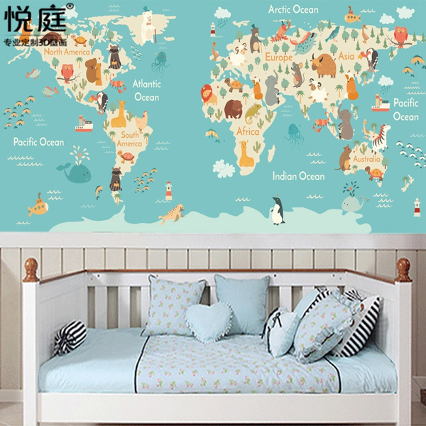 World Map Cartoon Children S Room Wallpaper Boy Girl Bedroom