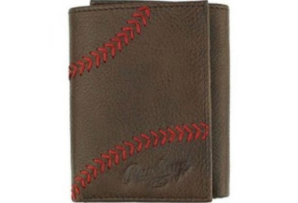 e12db5d5e7ae Rawlings Baseball Tri-Fold Wallet Credit Card Home Run Stitch Leather  RLG801-200