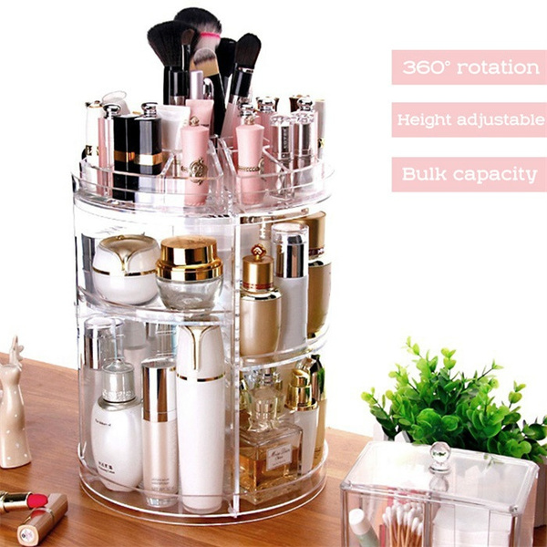 Fashion Spinning Cosmetic 360° Rotating Lipstick Makeup Holder Organizer  Rack Storage Box