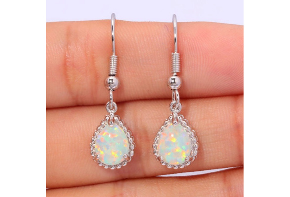 Created White Fire Opal Silver Plted Earrings Wholesale Retail Hot Sell for Women Jewelry Earrings 1 1/4inches