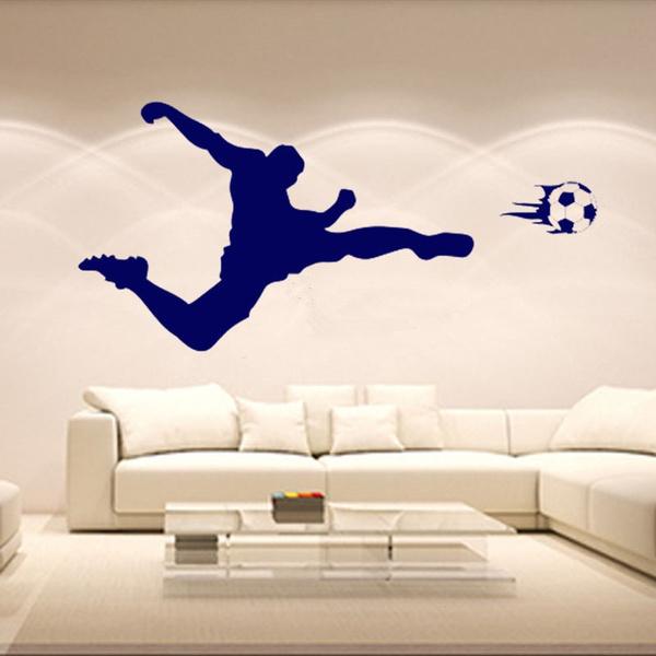 Soccer Shooting Wall Stickers Boys Decal Nursery Decor Boy Bedroom Football