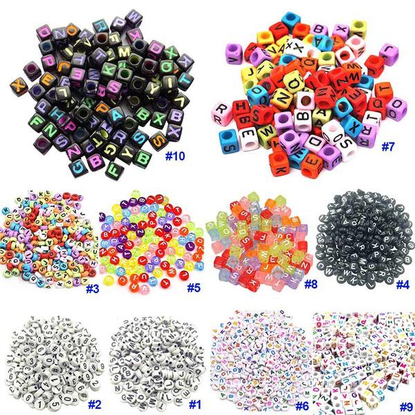 100PCS DIY Random Alphabet//Letter Acrylic Cube Spacer Loose Beads Jewelry Making
