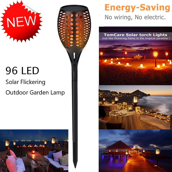 96 Led Solar Path Torch Light Flame Lighting Flickering Outdoor Garden Lamp Super