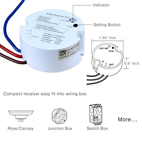 Astounding Acegoo Wireless Lights Switch Kit No Battery No Wiring Quick Wiring Cloud Hisonuggs Outletorg