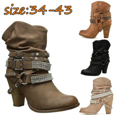 ankle boots, Plus Size, Winter, Womens Shoes