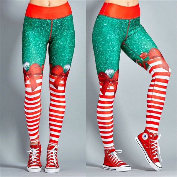 Christmas Running Leggings.Women Fashion Personality Christmas Stripped Printed Sports Gym Yoga Running Fitness Leggings Pants Sexy Women High Stretch Athletic Trousers 08