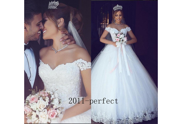 Lace bridal wedding dress Fashion A-line White Custom wedding dress Shoulder sweetheart ball dress back corset Stock wedding dress Size: 6-8-10-12-14-16-18-20