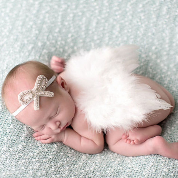 Newborn Girl Baby Kids Flowers Feather Lace Headband /& Angel Wings Photo Prop