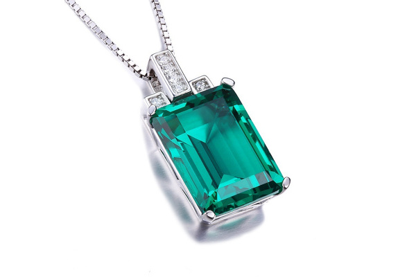 Luxury 6ct Created Green Nano Russian Emerald Pendant Necklace Silver Bridal Wedding Party Jewelry