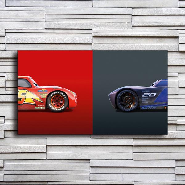 Lightning Mcqueen Vs Jackson Storm Cars 3 Hd Canvas Print Oil