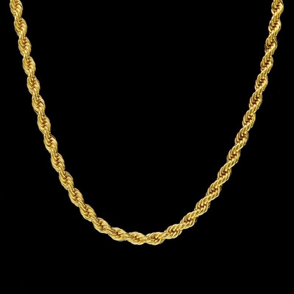 Wish 18k Gold Long Chain Necklace Men Jewelry Brand Gothic Color Male Gifts Size 18 30inch 5mm
