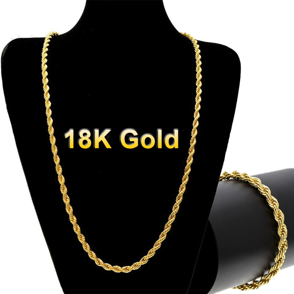 0af8d7c4b97f57 18k Gold Long Chain Necklace Men Jewelry Brand Gothic Gold Color ...