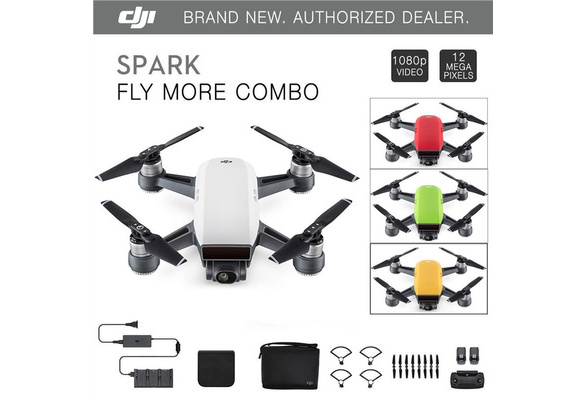 DJI Spark Fly More Combo - Alpine White Quadcopter Drone - 12MP 1080p Video  Palm-sized Smart Drone with the Remote Controller (the Omnipotent Combo)