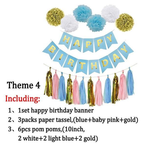 Paper Tassel Tissue Pom Poms Pompoms One Bunting Banner Baby Birthday Party