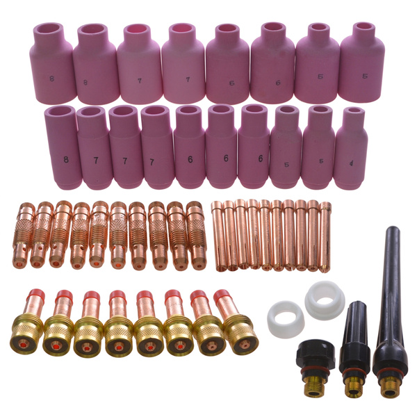 51pcs TIG Gas Lens Collet Body Consumables Kit Fit WP 17 18 26 TIG Welding Torch