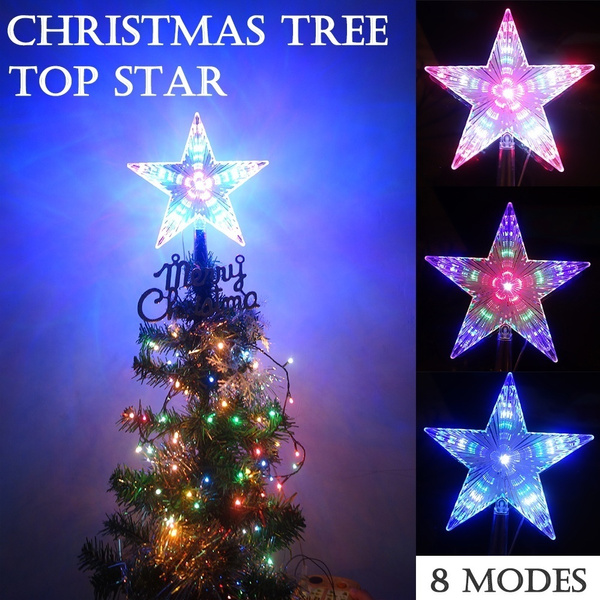 NICEXMAS Christmas Tree Topper LED Star Battery Operated Treetop ...