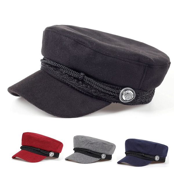 62fb9a14098 Vintage warm hat Men Women Autumn Winter Flat Military berets ...
