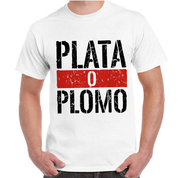 the best attitude 81786 fca94 T-Shirt Uomo Serie TV Narcos Maglietta Pablo Escobar Uomo Stampa Plata O  Plomo Fashion Cotton T-Shirts 100% Cotton Short Sleeve