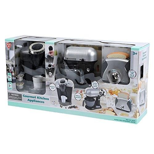 Playgo Gourmet Kitchen Appliances Pretend Play 3 Piece Set Black Gray Silver