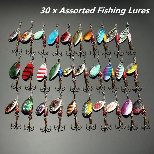30 Pcs Metal Spinners Fishing Lure Pike Salmon Baits Bass Trout Fish Hooks  + Case Fishing Lures Sheet Saltwater Fishing Fishing Lures